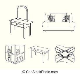 柔らかい, ソファー, トイレ, 構造のテーブル, 食事をしているテーブル, なだらかに傾斜する, ∥ために∥, 洗濯物, そして, detergent., 家具, そして, 内部, セット, コレクション, アイコン, 中に, アウトライン, スタイル, 等大, ベクトル, シンボル, 株イラスト, web.