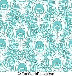 柔らかい, 孔雀, 羽, ベクトル, seamless, パターン, 背景