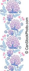 柔らかい, 縦, 紫色, パターン, seamless, 背景, 花, ボーダー