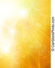 柔らかい, 金, 日当たりが良い, 夏, ∥あるいは∥, 秋, bokeh, 背景