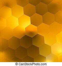 柔らかい, 黄色, hexagons., 日当たりが良い, day.