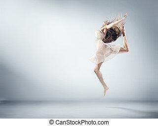 柔軟である, バレエ, 女の子, 若い, 数字