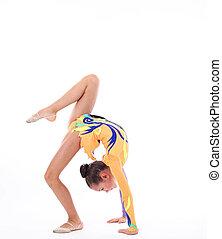 柔軟である, 女の子, 背景, 美しい, 白, 上に, 体操選手