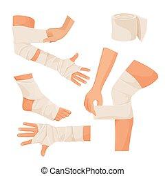 柔軟な包帯, 上に, 傷つけられる, 人間の体部分, セット