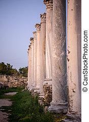 柱子, 在, 古老, 城市, ......的, 蒜味鹹臘腸, cyprus.