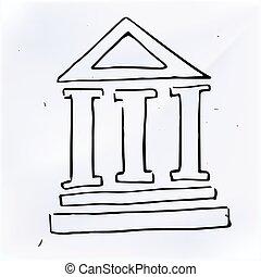 柱, いたずら書き, 3, イラスト, 建物