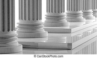 柱, 大理石, 横列, ステップ, 白