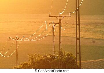 柱, 日没, 電気である