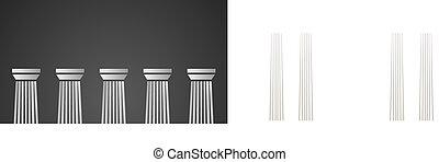 柱, 白, 黒い大理石, 背景