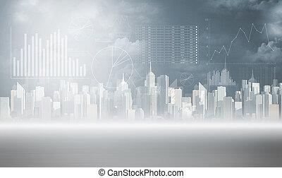 柱, 都市, チャート, 背景, 光景