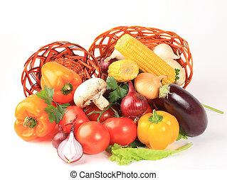 柳條, 蔬菜, 被隔离, 未加工, 籃子, 白色, 作品