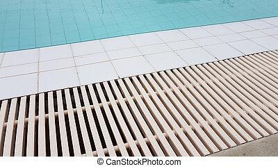 柵, ∥横に∥, 排水, タイル, 白, プール, 水泳