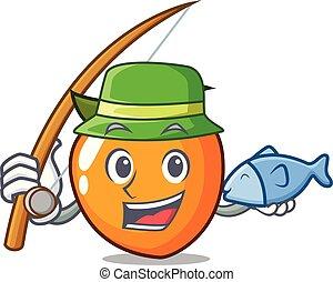 柿, スタイル, 釣り, 漫画, マスコット