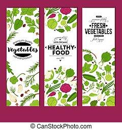 栄養, 有機性 食糧, 野菜, 健康, 新たに, 旗, 菜食主義者