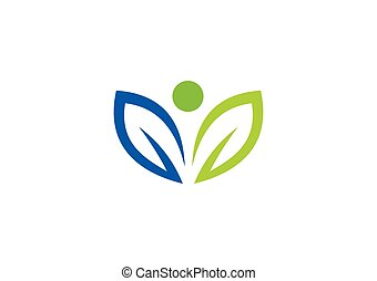 栄養, 葉, 抽象的, ベクトル, ロゴ, 有機体である