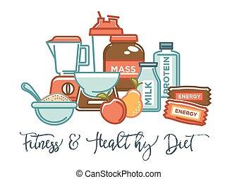 栄養, 補足, 食物, ポスター, 食事, スポーツ, 健康, ベクトル, プロダクト, フィットネス