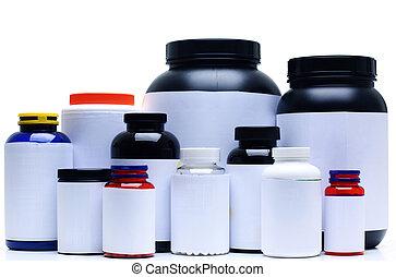 栄養, 隔離された, 補足, 白, スポーツ, 容器