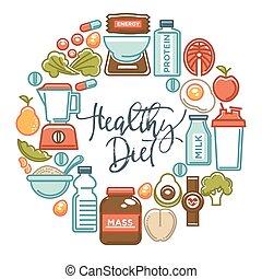 栄養, 食物, ポスター, 食事, スポーツ, 健康, icons., フィットネス