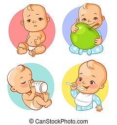 栄養, 食物, 赤ん坊, set., ステッカー, 健康