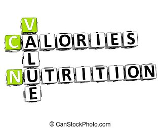 栄養, 3d, カロリー, 値, クロスワードパズル