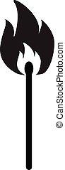 标志。, 套间, lucifer, 比赛, 图标, 棍, 白色, style., 背景。, 燃烧, 符号。