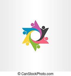 标识语, 人们, 团体, 队, 矢量, 符号, 元素
