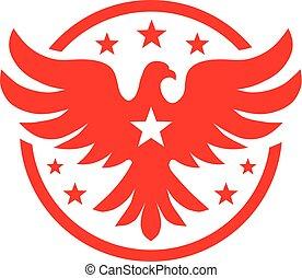 标识语, concept., 矢量, 鸟, 星