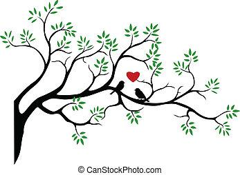 树, 侧面影象, 带, 鸟