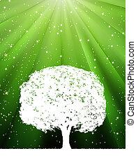 树, 带, 绿色, 爆发, 为, 你, design., eps, 8
