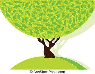 树, 带, 绿色, leafage.