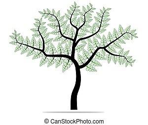 树, 带, 绿色, leafage., vector.