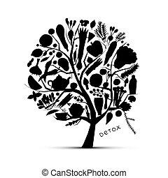 树, 带, 绿色, vegetables., 勾画, 为, 你, 设计