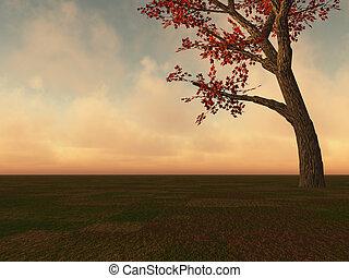 树, 枫树, 地平线, 落下