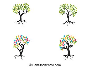 树, 标识语, 矢量