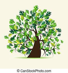 树, 橡木, 夏天