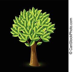 树, 生动, 颜色, 标识语, 矢量