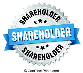 株主, バッジ, ラウンド, 隔離された, 銀