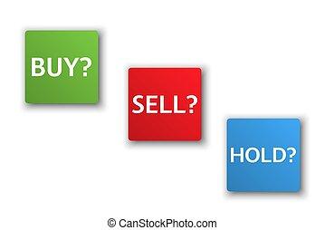 株式 市場, オプション, 3, ビジネス, 変形, 買い物, 売る, 把握, 販売, 取引しなさい, ボタン, 隔離された, 白, 背景