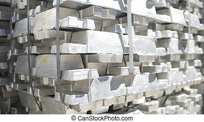 株, アルミニウム, インゴット, アルミニウム, warehouse., billets, 植物, プロフィール, 生産, metallurgical