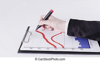株, クローズアップ, 図画, chart., 隔離された, .businessman, 白