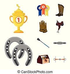 株, セット, logo., 馬, ベクトル, 馬の背, web., イラスト, シンボル, 乗馬者