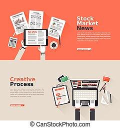 株, プロセス, 創造的, デザイン, 平ら, 市場