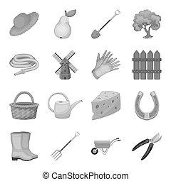 株, 帽子, スタイル, セット, アイコン, equipment., シンボル, web., イラスト, ビットマップ, 笛, ファン, 他, コレクション, モノクローム, raster, スコアボード