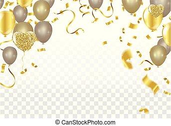 株, 金, checkered, お祝い, きらめき, 隔離された, イラスト, 現実的, バックグラウンド。, ベクトル, 紙ふぶき, 休日, 透明, 焦点がぼけている