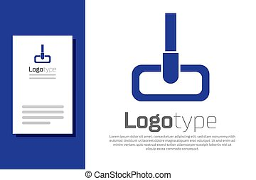 样板, 设计, 服务, 隔离, 标识语, 图标, 打扫, 白色, 蓝色, 矢量, 背景。, concept., element., 描述, 扫荡