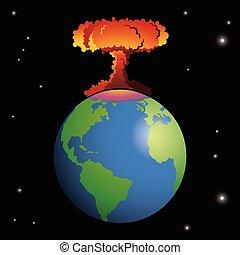 核兵器, 爆発する, 上に, 地球