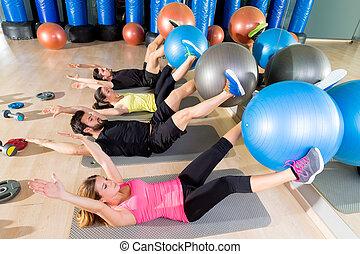 核心, 訓練, グループ, 緊張状態, ジム, fitball, フィットネス