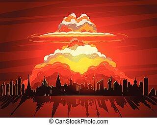 核爆発, 原子爆弾, 落ちる, 上に, 地球