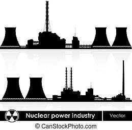 核電站, 黑色半面畫像, 被隔离, 上, white., 矢量, illustration.