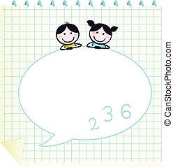 格子, いたずら書き, 幸せ, 隔離された, かわいい, &, 子供, メモ用紙, 白